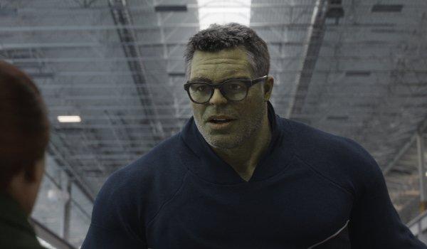 Avengers: Endgame Professor Hulk explaining something to Natasha in the hanger of the Avengers compo