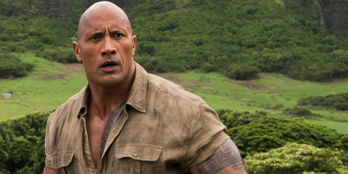 Jumanji: Welcome to the Jungle Dwayne Johnson confused in the jungle