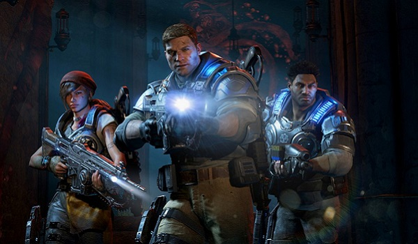 Soldiers march forward in Gears of War 4