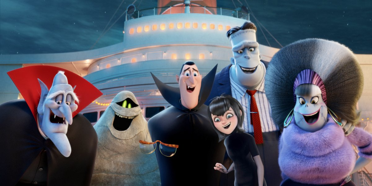 Keegan-Michael Key as Murray the Mummy in the middle with the rest of the characters in Hotel Transylvania.