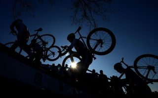 Athletes compete during the UCI Cyclo-cross World Championships in 2020
