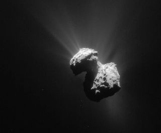 A single frame Rosetta navigation camera image of Comet 67P/Churyumov-Gerasimenko.
