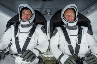 NASA astronauts Bob Behnken (at left) and Doug Hurley are set to launch aboard SpaceX's Dragon spacecraft on the first U.S. rocket to launch into orbit from U.S. soil in nearly a decade.