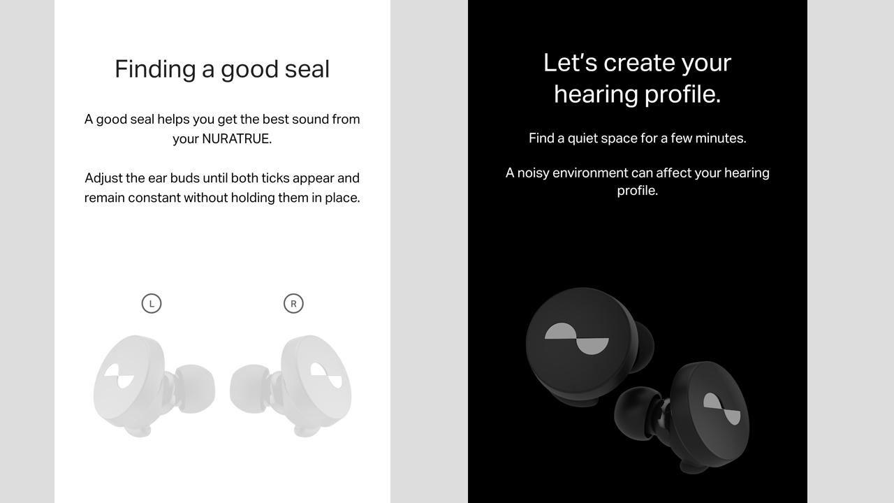 screenshots of the nura app showing the setup process for the nuratrue earbuds