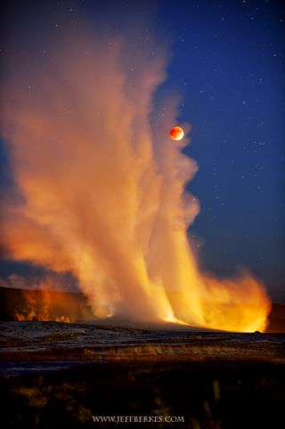 Supermoon and Old Faithful