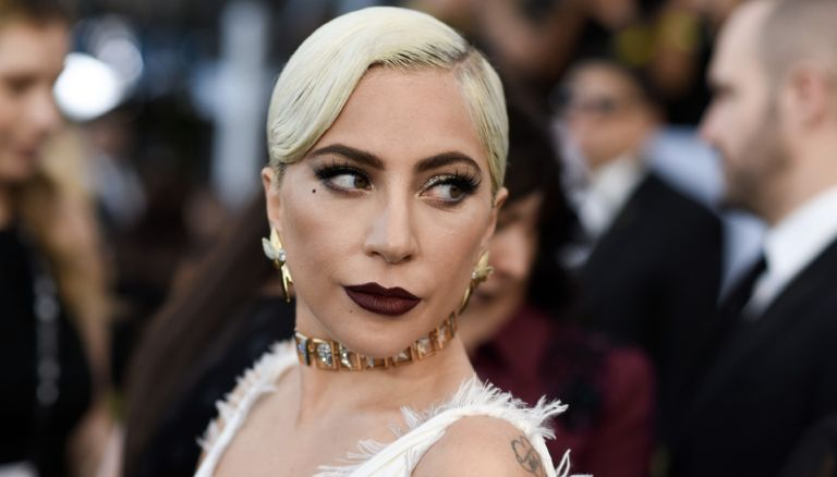 """Outstanding Performance by a Female Actor in a Leading Role for """"A Star is Born"""" nominee Lady Gaga walks the red carpet at the 25th Annual Screen Actors Guild Awards at the Shrine Auditorium in Los Angeles on January 27, 2019."""