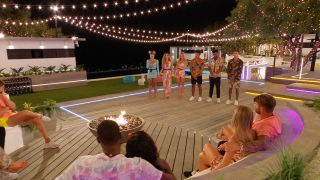 Love Island 2021: Teddy, AJ, Danny, Lucinda, Chloe and Toby at the firepit