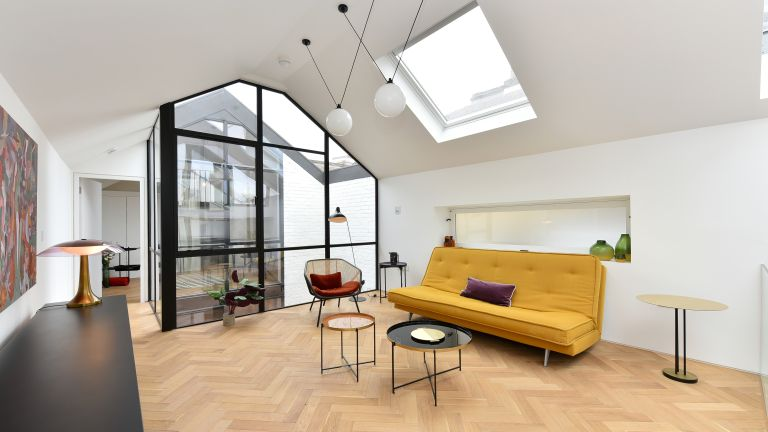 Interiors of converted mechanics garage for sale in London
