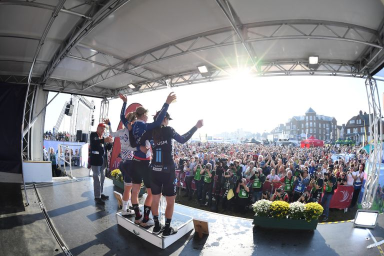 Huge crowds watch the final podium celebrations following stage six of the 2021 AJ Bell Women's Tour in Felixstowe, Suffolk