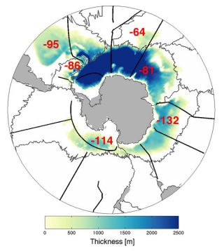 Layers of Antarctic Bottom Water and the rates it is disappearing at