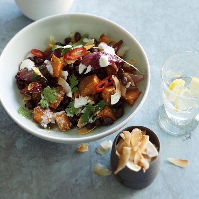 Black bean, chorizo, sweet potato and coconut bowl photo
