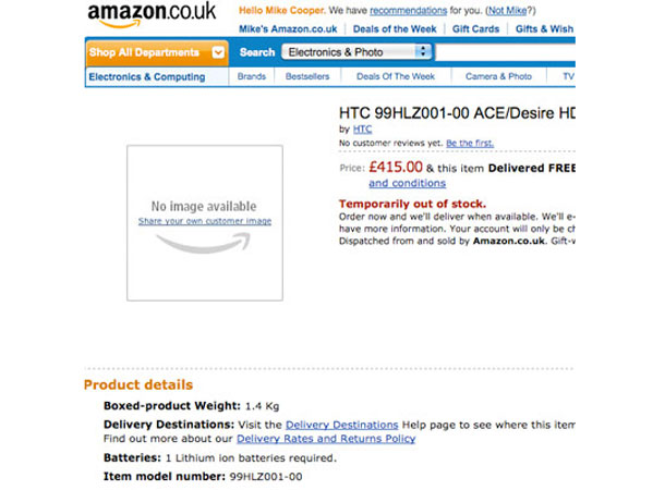 HTC Desire HD UK price revealed by Amazon as £415 | T3