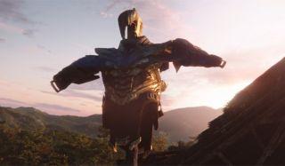 Thanos armor on a stick in Avengers Endgame