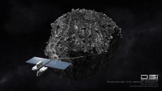 Artist's concept showing Deep Space Industries' Harvestor-class spacecraft for asteroid mining. DSI is investigating the feasibility of using microbes to preprocess asteroid resources in space.