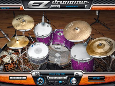 "Toontrack's Americana offers a choice of four snares and kicks are either 16"" or 22""."