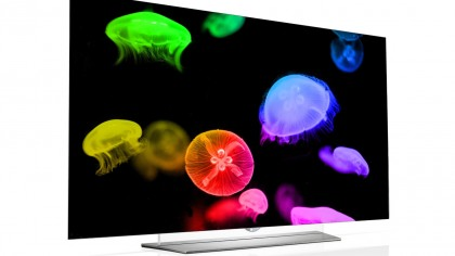 An LG HDR OLED TV with colorful jellyfish on the screen