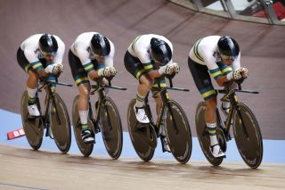 The Australian men's team pursuit team in action at the 2020 Track World Championships in Berlin, Germany