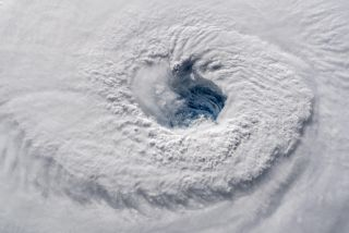 Hurricane Florence's eye is seen from the ISS.