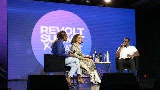 """Detavio Samuels (bottom l.) helps Sean """"Diddy"""" Combs (r., with Issa Rae and Melina Matsoukas) keep Revolt relevant to the """"hip-hop gen."""""""