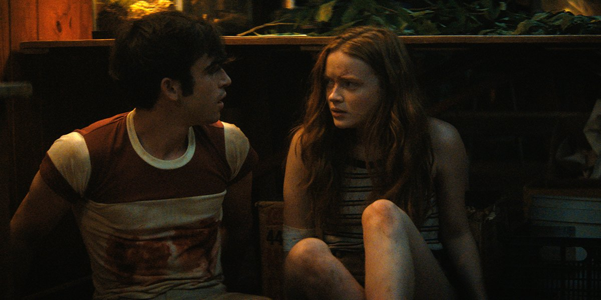 Ted Sutherland and Sadie Sink in Fear Street Part 2: 1978