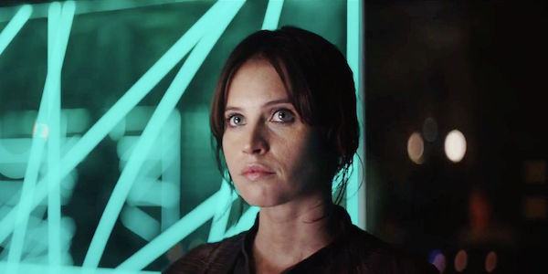 Jyn Erso at the rebel base in Rogue One.
