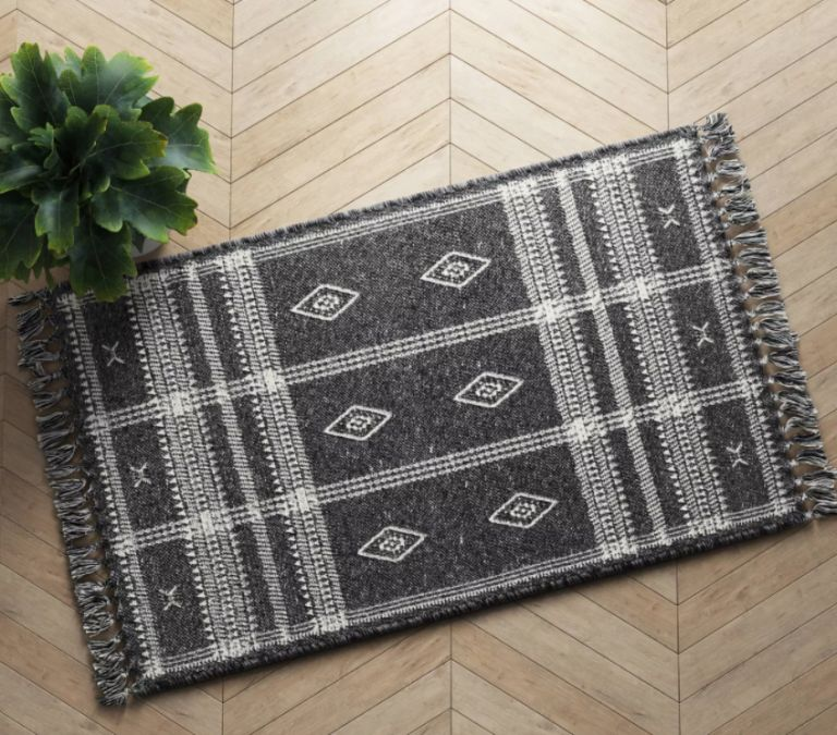 entryway rugs: Southwest Plaid Accent Rug Gray