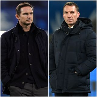 Frank Lampard, left, believes Chelsea's 'benchmark' has changed since Brendan Rodgers, right, distanced himself from the Stamford Bridge job