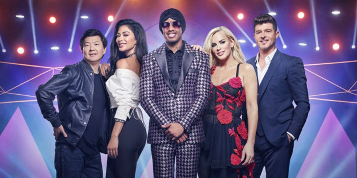 Nick Cannon, Robin Thicke, Ken Jeong, Jenny McCarthy, and Nicole Scherzinger in The Masked Singer