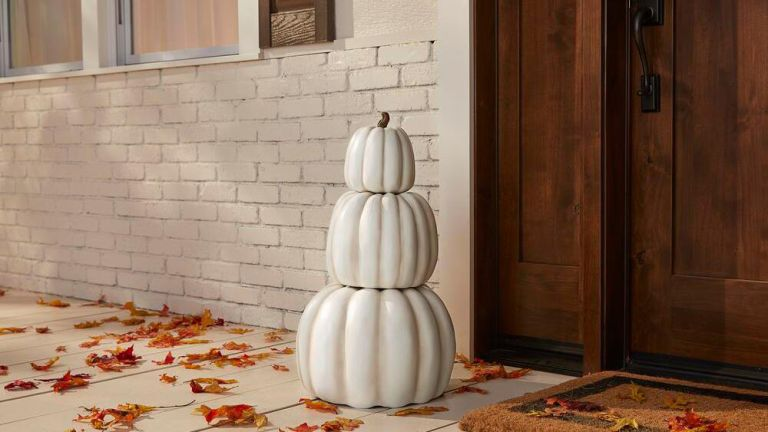 Home Depot Halloween: Home Accents Holiday 26.5 in. Fall Halloween 3-Piece Stacked Pumpkins