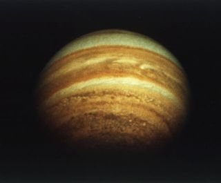 In 1974, NASA's Pioneer 11 spacecraft viewed Jupiter from above its north pole.