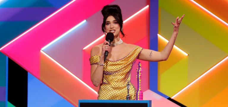 Dua Lipa Brits - Lipa receives the award for Best Female Solo Artist during The BRIT Awards 2021 at The O2 Arena