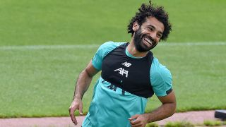 Mohamed Salah trains on July 20 with Liverpool FC.