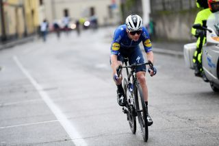 LEGNANO ITALY OCTOBER 04 Remco Evenepoel of Belgium and Team Deceuninck QuickStep attacks in the breakaway during the 102nd Coppa Bernocchi 2021 a 19715km race from Legnano to Legnano USLegnanese1913 CoppaBernocchi on October 04 2021 in Legnano Italy Photo by Tim de WaeleGetty Images