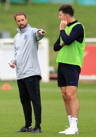 Gareth Southgate and Harry Maguire.