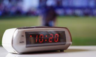A digital alarm clock.