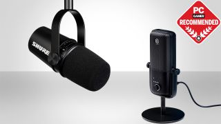 Two microphones in front of gray of background with PC Recommended badge on top right.