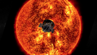 A NASA illustration shows the Parker Solar Probe diving heat shield-first toward the sun. The probe's elliptical orbit will take it closer and closer to the solar surface on every pass.