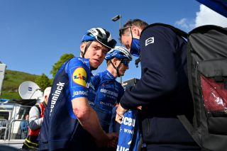 SEGA DI ALA ITALY MAY 26 Remco Evenepoel of Belgium and Team Deceuninck QuickStep Toon Cruyt of Belgium Doctor of Team Deceuninck QuickStep at arrival during the 104th Giro dItalia 2021 Stage 17 a 193km stage from Canazei to Sega di Ala 1246m Crash Injury UCIworldtour girodiitalia Giro on May 26 2021 in Sega di Ala Italy Photo by Stuart FranklinGetty Images