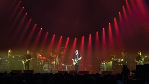 A photograph of David Gilmour on stage at the Royal Albert Hall