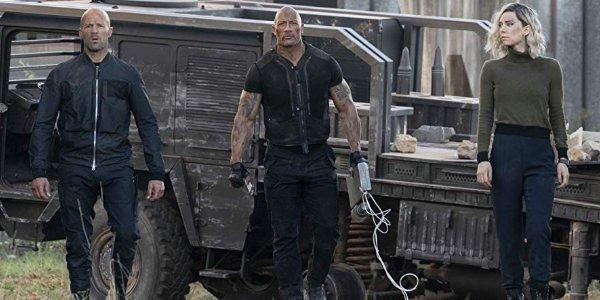 Hobbs & Shaw walking with Hattie in the Ukraine, away from their beaten up truck
