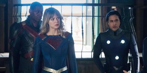 David Harewood, Melissa Benoist and Jesse Wrath in Supergirl.
