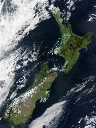New Zealand seen by satellite