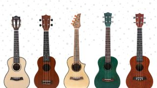 Five Ukutune ukuleles on a snowy background