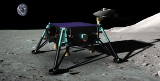 Artist's interpretation of the Draper/MIT team's hopping spacecraft on the moon, for the Google Lunar X Prize.