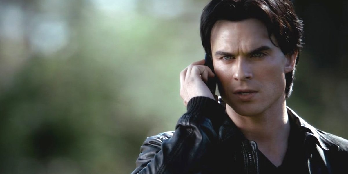 The Vampire Diaries Ian Somerhalder Damon Salvatore on the phone The CW