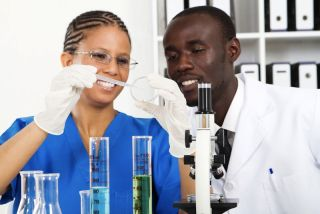 Man and woman in science lab.