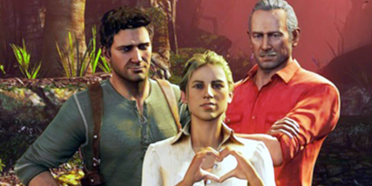 From left to right, Nathan Drake, Elena Fisher, and Sully