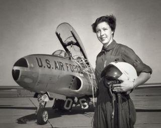 An undated photograph of aviator Wally Funk.