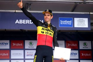 Wout van Aert on the top of the final podium of Tour of Britain