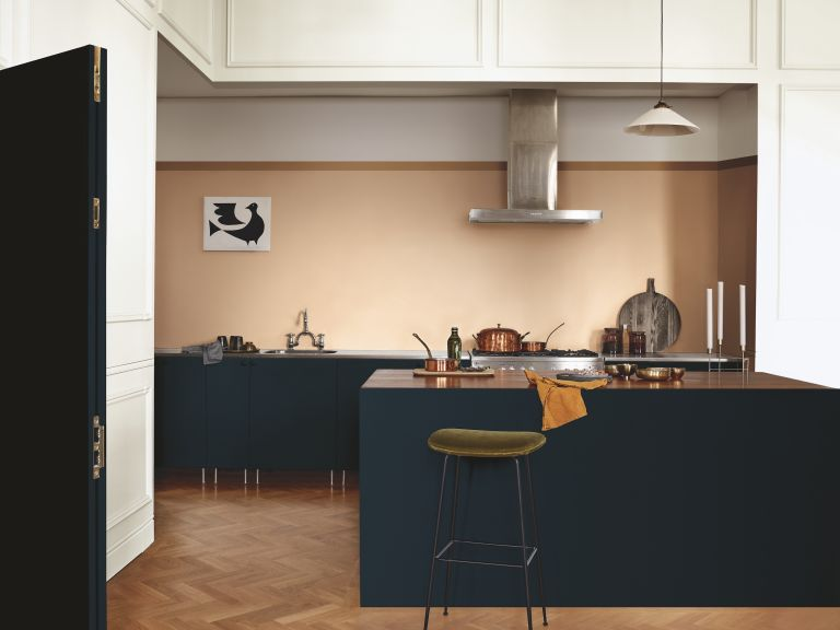 Wickes paint offers: spiced honey kitchen with dark blue units by dulux